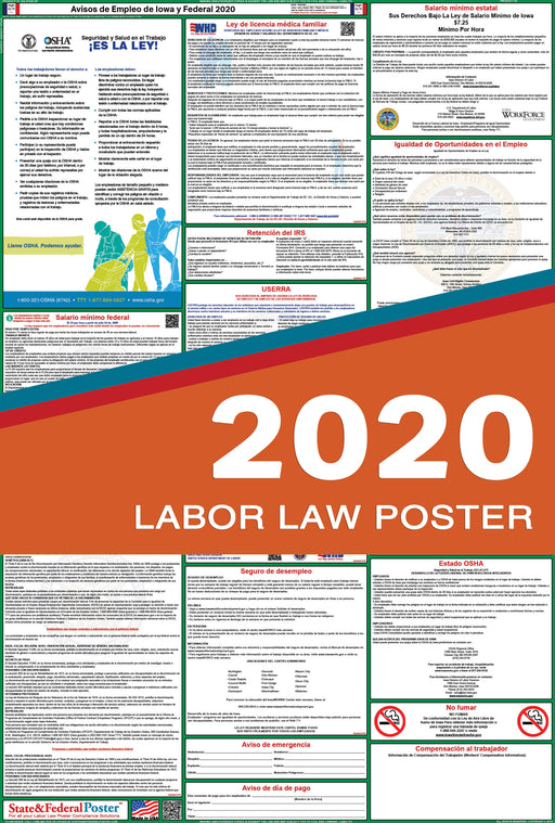 Iowa State and Federal Labor Law Poster 2020 (SPANISH) - State and Federal Poster