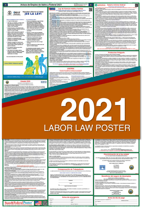 Idaho State and Federal Labor Law Poster 2021 (SPANISH)