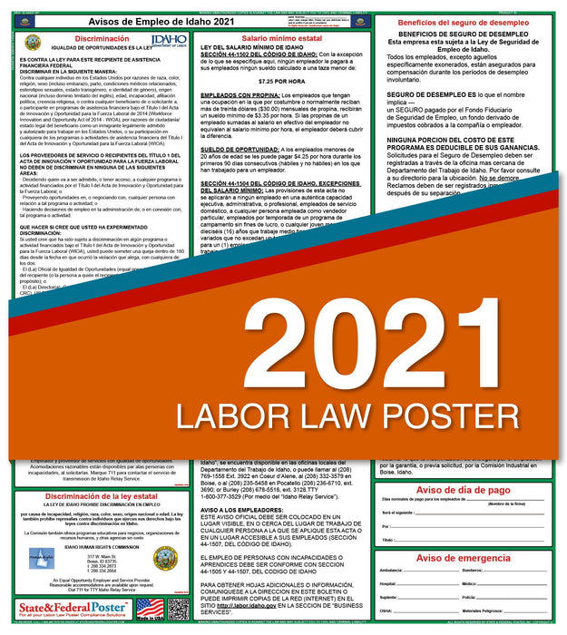 Idaho State Labor Law Poster 2021 (Spanish)