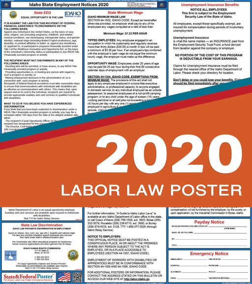 Idaho State Labor Law Poster 2020 - State and Federal Poster