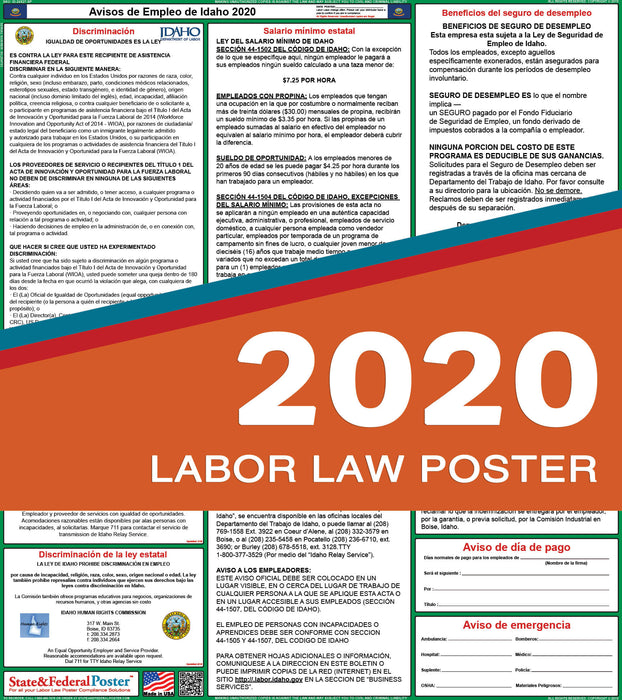Idaho State Labor Law Poster 2020 (SPANISH) - State and Federal Poster