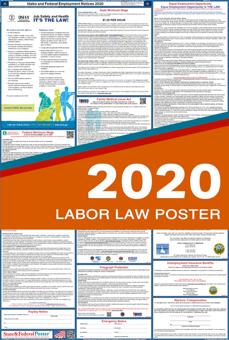 Idaho State and Federal Labor Law Poster 2020 - State and Federal Poster