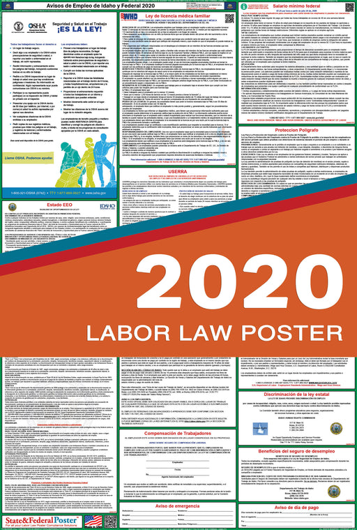 Idaho State and Federal Labor Law Poster 2020 (SPANISH) - State and Federal Poster