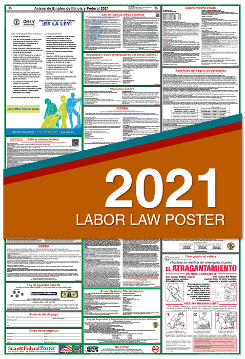 PREORDER - Illinois State and Federal Labor Law Poster 2021 (SPANISH)