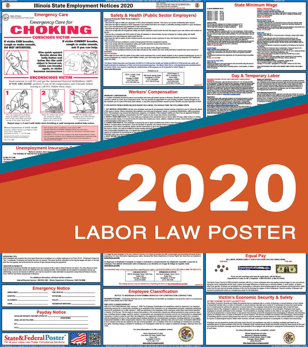 Illinois State Labor Law Poster 2020 - State and Federal Poster