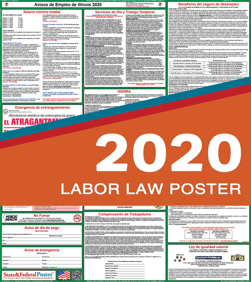 Illinois State Labor Law Poster 2020 (SPANISH) - State and Federal Poster