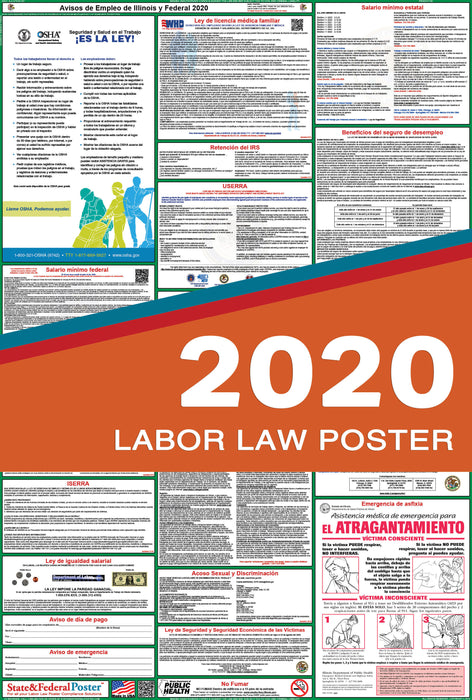 Illinois State and Federal Labor Law Poster 2020 (SPANISH) - State and Federal Poster