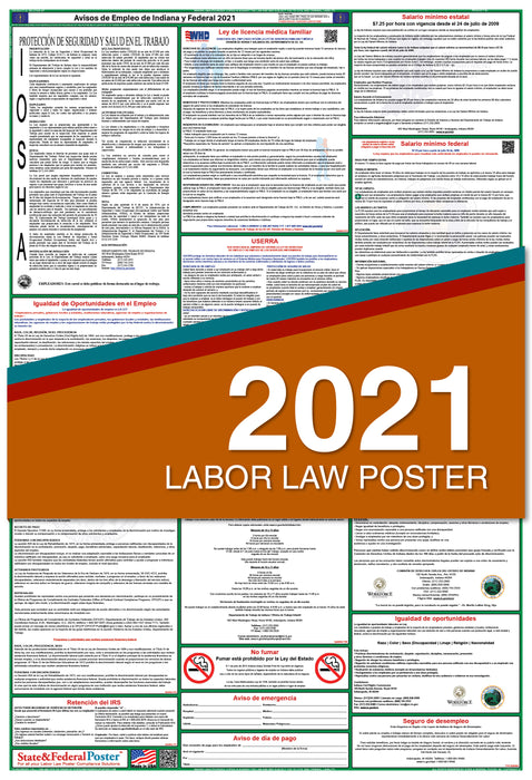 Indiana State and Federal Labor Law Poster 2021 (SPANISH)