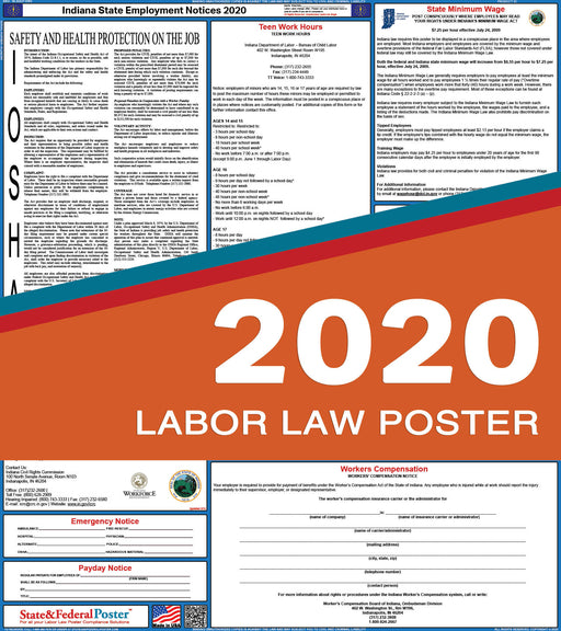 Indiana State Labor Law Poster 2020 - State and Federal Poster