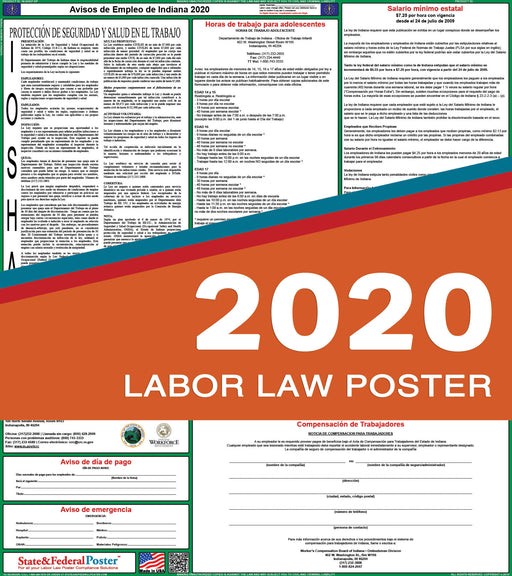 Indiana State Labor Law Poster 2020 (SPANISH) - State and Federal Poster