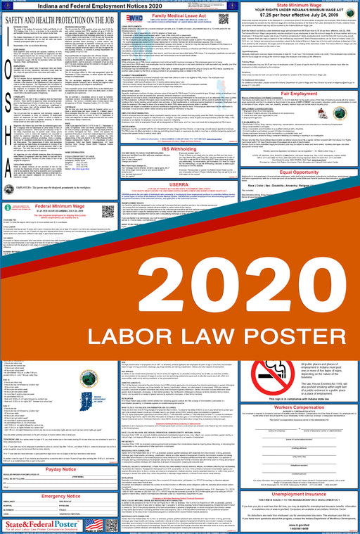 Indiana State and Federal Labor Law Poster 2020 - State and Federal Poster