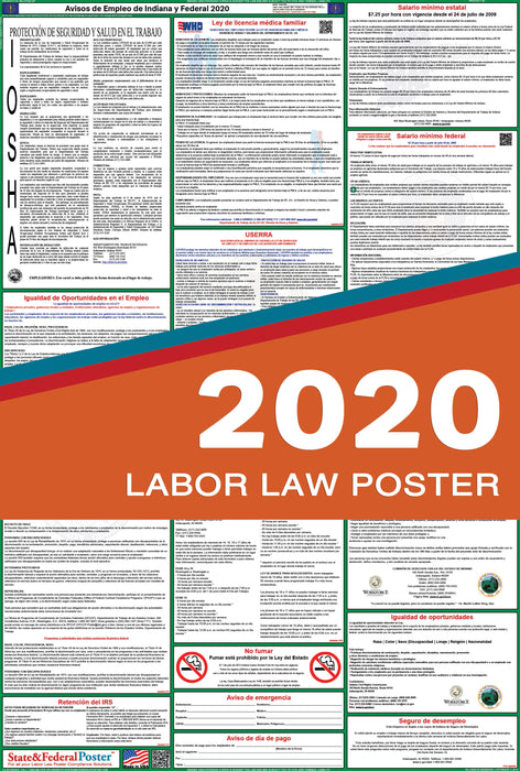 Indiana State and Federal Labor Law Poster 2020 (SPANISH) - State and Federal Poster