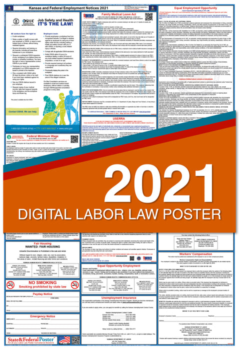 Digital Kansas State and Federal Labor Law Poster 2021