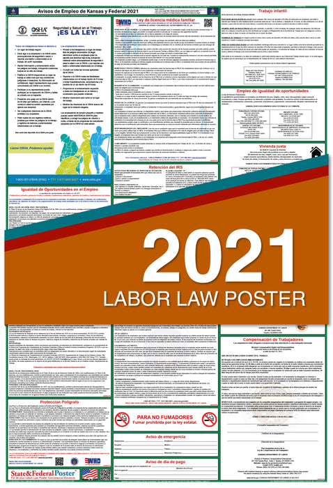Kansas State and Federal Labor Law Poster 2021 (SPANISH)