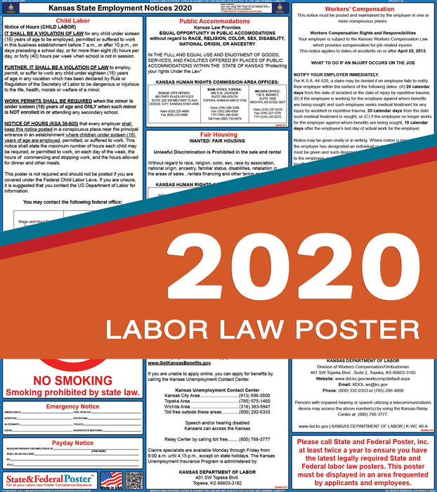 Kansas State Labor Law Poster 2020 - State and Federal Poster