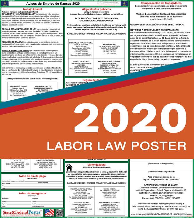 Kansas State Labor Law Poster 2020 (SPANISH) - State and Federal Poster
