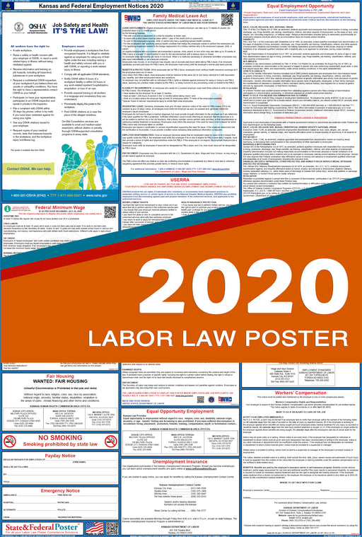 Kansas State and Federal Labor Law Poster 2020 - State and Federal Poster