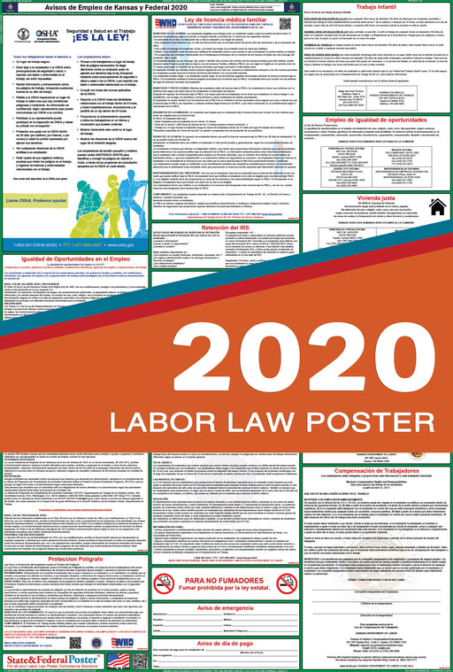 Kansas State and Federal Labor Law Poster 2020 (SPANISH) - State and Federal Poster