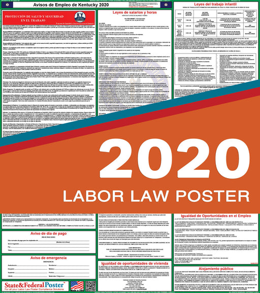 Kentucky State Labor Law Poster 2020 (SPANISH) - State and Federal Poster