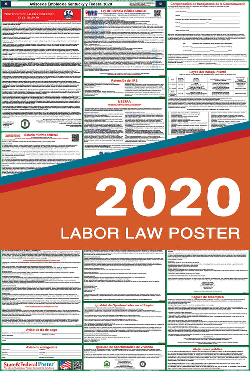 Kentucky State and Federal Labor Law Poster 2020 (SPANISH) - State and Federal Poster