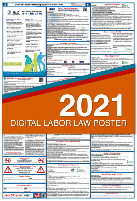 Digital Louisiana State and Federal Labor Law Poster 2021