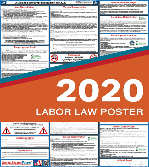 Louisiana State Labor Law Poster 2020 - State and Federal Poster