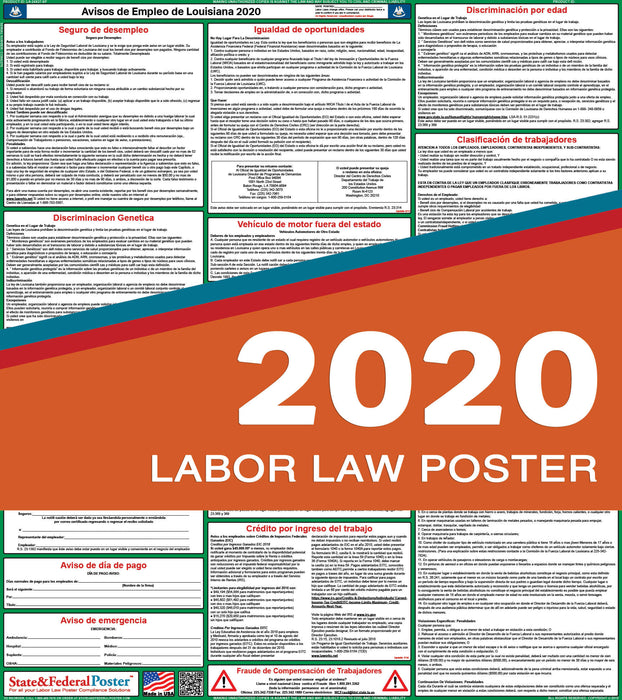 Louisiana State Labor Law Poster 2020 (SPANISH) - State and Federal Poster