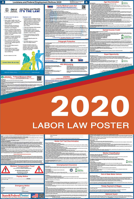 Louisiana State and Federal Labor Law Poster 2020 - State and Federal Poster