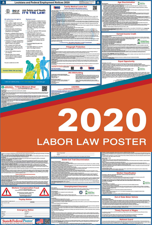 Louisiana State and Federal Labor Law Poster 2020