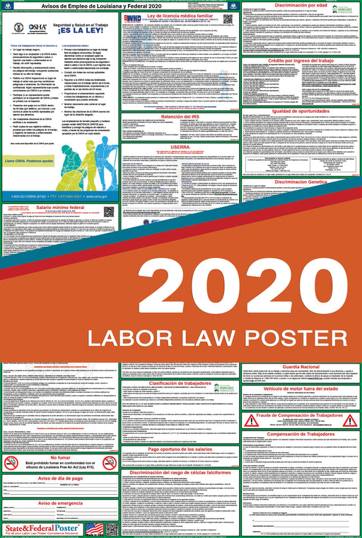 Louisiana State and Federal Labor Law Poster 2020 (SPANISH) - State and Federal Poster