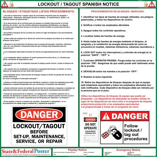 Lockout / Tagout Notice - State and Federal Poster