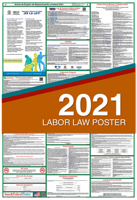 Massachusetts State and Federal Labor Law Poster 2021 (SPANISH)