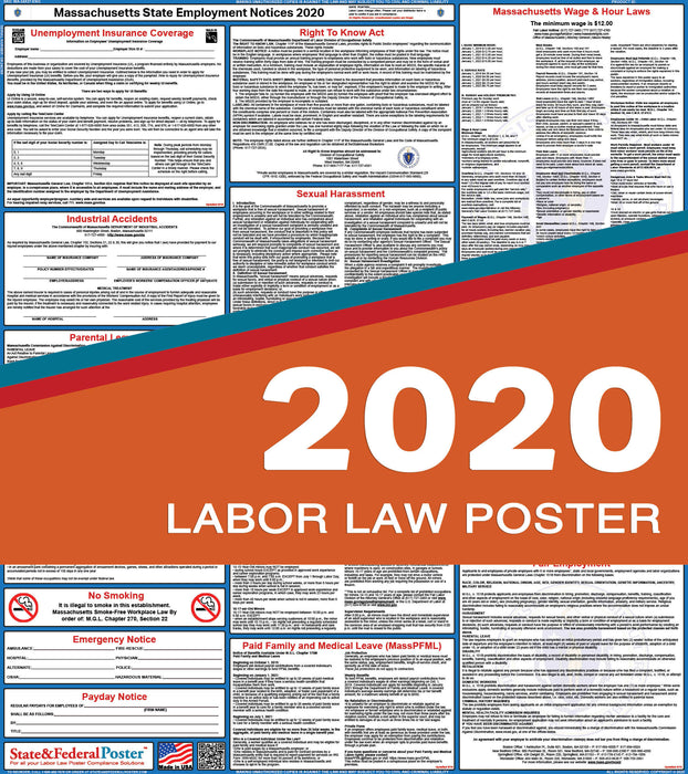Massachusetts State Labor Law Poster 2020 - State and Federal Poster
