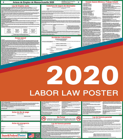 Massachusetts State Labor Law Poster 2020 (SPANISH) - State and Federal Poster