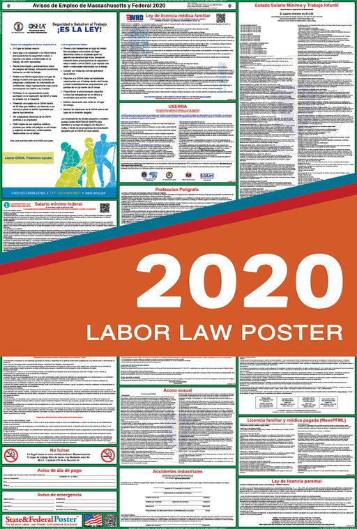 Massachusetts State and Federal Labor Law Poster 2020 (SPANISH) - State and Federal Poster