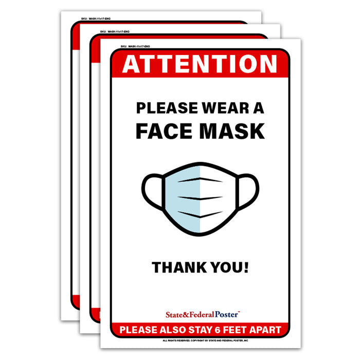 """Please Wear Face Mask"" Laminated Poster Sign (3 PCS)"
