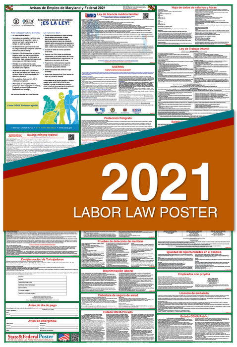 Maryland State and Federal Labor Law Poster 2021 (SPANISH)