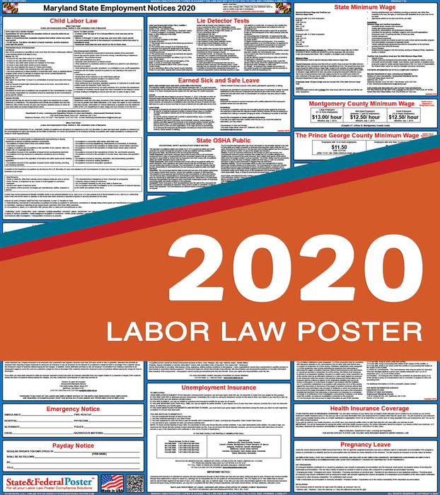 Maryland State Labor Law Poster 2020 - State and Federal Poster