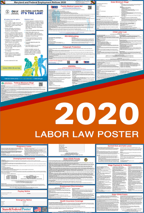 Maryland State and Federal Labor Law Poster 2020 - State and Federal Poster