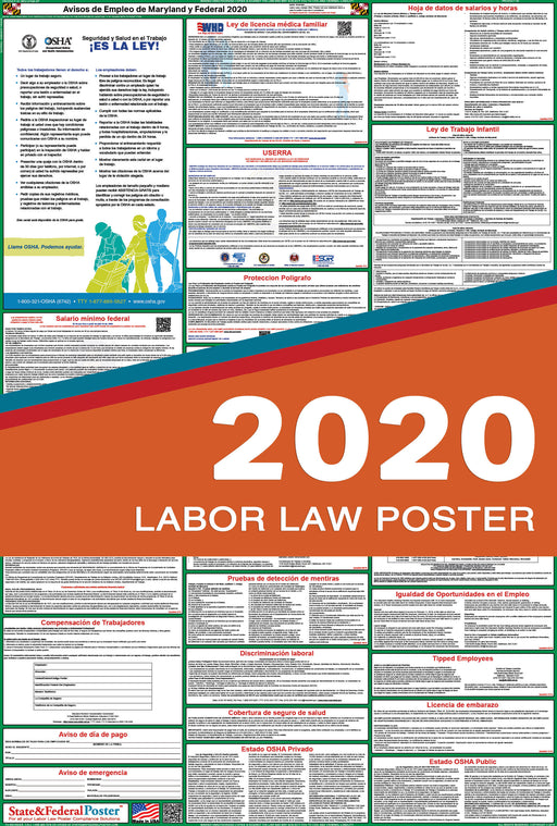 Maryland State and Federal Labor Law Poster 2020 (SPANISH) - State and Federal Poster