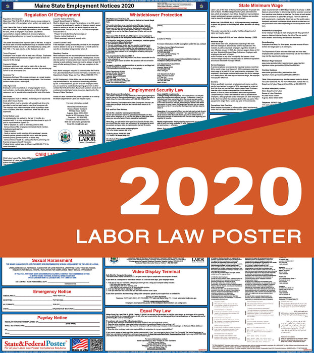 Maine State Labor Law Poster 2020 - State and Federal Poster