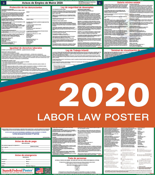 Maine State Labor Law Poster 2020 (SPANISH) - State and Federal Poster