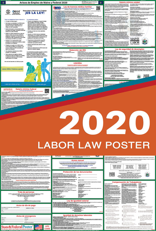 Maine State and Federal Labor Law Poster 2020 (SPANISH) - State and Federal Poster
