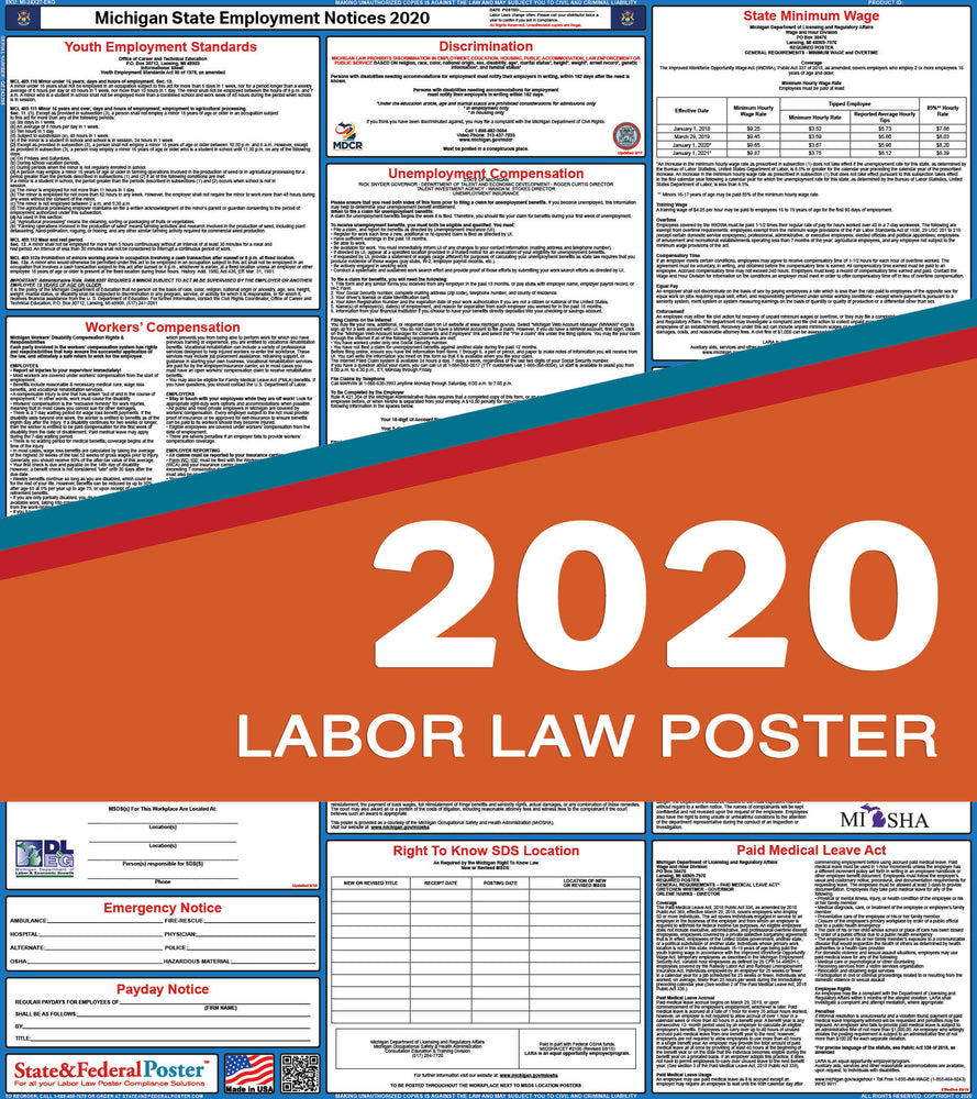 Michigan State Labor Law Poster 2020 - State and Federal Poster