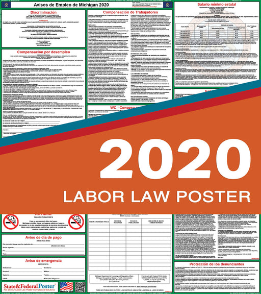 Michigan State Labor Law Poster 2020 (SPANISH) - State and Federal Poster