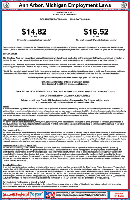 MI Ann Arbor Employment Laws Poster - State and Federal Poster