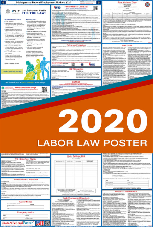 Michigan State and Federal Labor Law Poster 2020 - State and Federal Poster