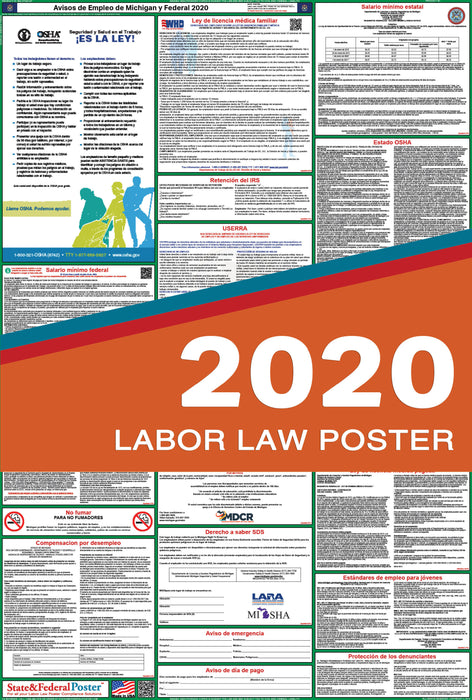 Michigan State and Federal Labor Law Poster 2020 (SPANISH) - State and Federal Poster