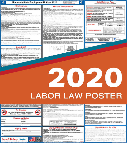 Minnesota State Labor Law Poster 2020 - State and Federal Poster