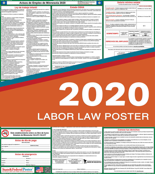 Minnesota State Labor Law Poster 2020 (SPANISH) - State and Federal Poster
